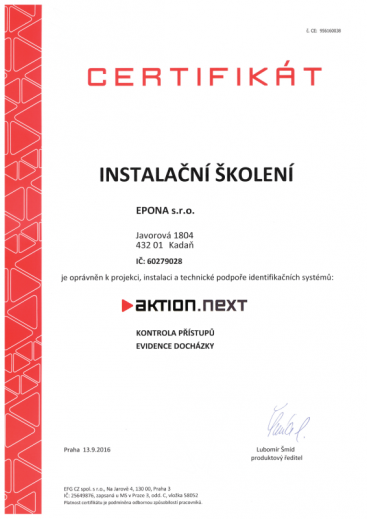 AKTION NEXT certifikát